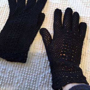 Vintage Black Crochet Fishnet Gloves